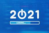 Loading New Year 2021 on blue background. Start to 2021 concept. Vector illustration