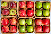 Red and green apples on pulp paper food trays. Top view.