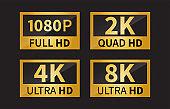 8k Ultra Hd icon, 4k Ultra Hd, 2k Ultra Hd, 1080 Full Hd Resolution icon. Vector illustration