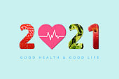 2021 Happy New Year for healthcare. Fruit and vegetables which make 2021 number.