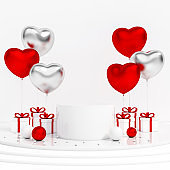Valentines gift box and heart shaped metallic balloon with podium display stand on white background 3d rendering. 3d illustration Valentines Day greeting card presentation template luxury concept.