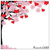romantic card tree of love view on the right