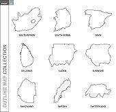 Outline maps collection, nine black lined vector map