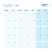 2021 September wall planner in blue pastel color, week starts on Monday.