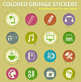 creative process colored grunge icons