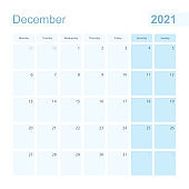 2021 December wall planner in blue pastel color, week starts on Monday.
