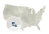 Polygonal abstract USA map with magnified Louisiana state.