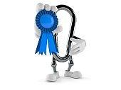 Carabiner character with award ribbon