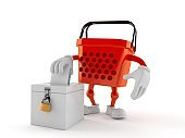 Shopping basket character with vote ballot