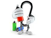 Carabiner character with spray cans