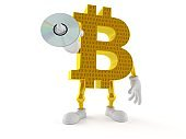 Bitcoin character holding cd disc