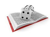 Dice on open book