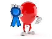 Balloon character with award ribbon