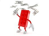 Toy block character catching money