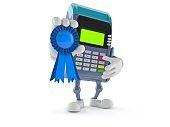 Credit card reader character with award ribbon
