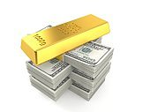 Gold ingot on stack of money