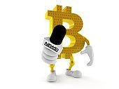 Bitcoin character holding interview microphone