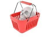 Skull inside shopping basket