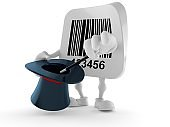 Barcode character with magic hat