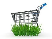 Shopping cart on grass