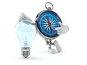 Compass character with light bulb