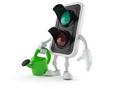 Green traffic light character holding watering can