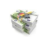 School tools on stack of money