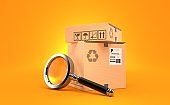 Package with magnifying glass