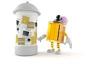 Perfume character with advertising column