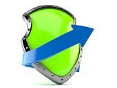 Protective shield with blue arrow