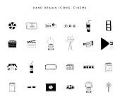 Set of vector hand drawn icons. Cinema isolated objects, cinematography illustrations and label elements.