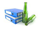 Green glass bottle with ring binders