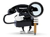 Telephone character with magnifying glass