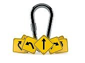 Carabiner with road signs