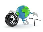 World globe character with car wheel and spanner