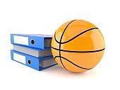 Basketball ball with ring binders
