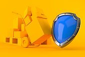 Delivery background with protective shield