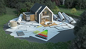 House project on construction ground