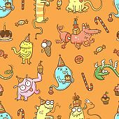 Birthday seamless pattern with cute monsters on  orange background. Colorful wallpaper. Doodle cartoon dragon print. Line art poster.