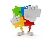 Jigsaw puzzle character pointing finger on business card