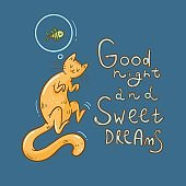 Card with  cute cartoon sleeping cat. Dream about fish. Good night wishes. Funny doodle kitten.