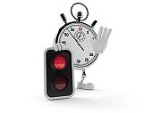Stopwatch character with red light