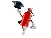 Fire extinguisher character throwing mortar board