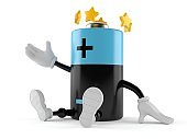Battery character with stars around head