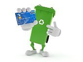 Dustbin character holding credit card