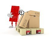 Toy block character with hand pallet truck with cardboard boxes