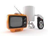 Mug character with tv set and remote