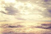 Sea Beach and Clouds Sky, Landscape of Sun and Waves on Coast, Coastline Seascape