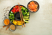 Chinese food ingredients with salmon