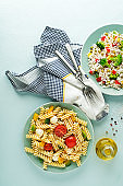 Meals with pasta salad and rice salad